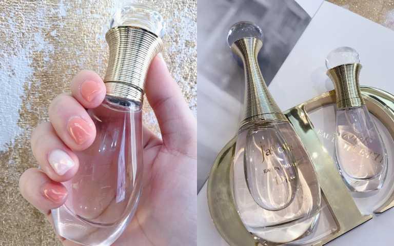 (左)Dior J'adore親吻淡香水20ml/1,600元(右) Dior J'adore淡香水/4650元,Dior J'adore親吻淡香水20ml/1,600元 (圖/黃筱婷攝影)