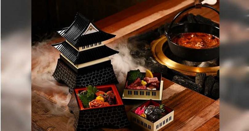 大阪城造型三層食器盛裝的燒烤食材。(圖/胡同裏的寬巷子提供)
