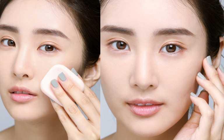 4 按壓蜜粉:如果想要較霧面底妝妝感,可以用粉撲沾取適量蜜粉、全臉畫圓按壓定妝;若想要自然妝效,建議用蜜粉刷輕刷掃過全臉即可。(圖/戴世平攝)