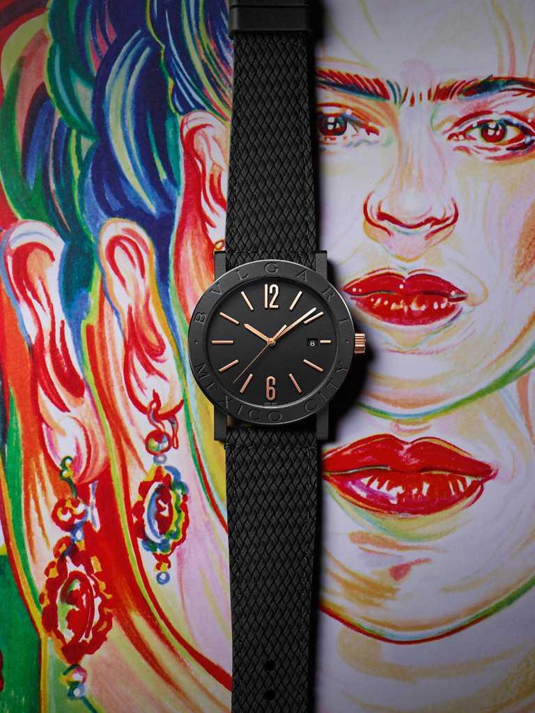 墨西哥代表藝術家Aline Zalko,為BVLGARI「BVLGARI CITIES城市系列」MEXICO特別版腕錶繪製插畫。(圖╱BVLGARI提供)