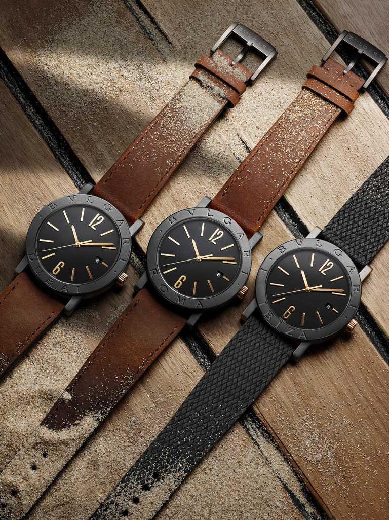 BVLGARI「BVLGARI CITIES城市系列」2020年特別版腕錶,從羅馬、東京、杜拜、巴黎、倫敦、伊比薩、米蘭、墨西哥和紐約等9座城市汲取設計靈感。(圖╱BVLGARI提供)