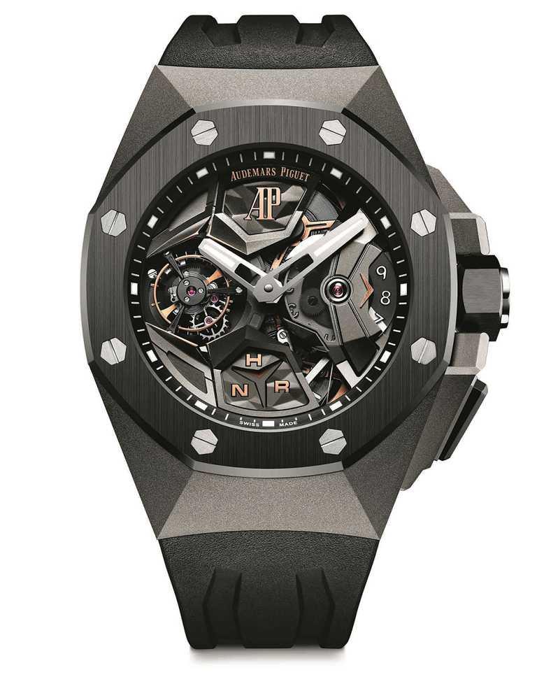 AP「皇家橡樹概念系列」飛行陀飛輪雙時區腕錶╱5,528,000元。(圖╱AudemarsPiguet提供)