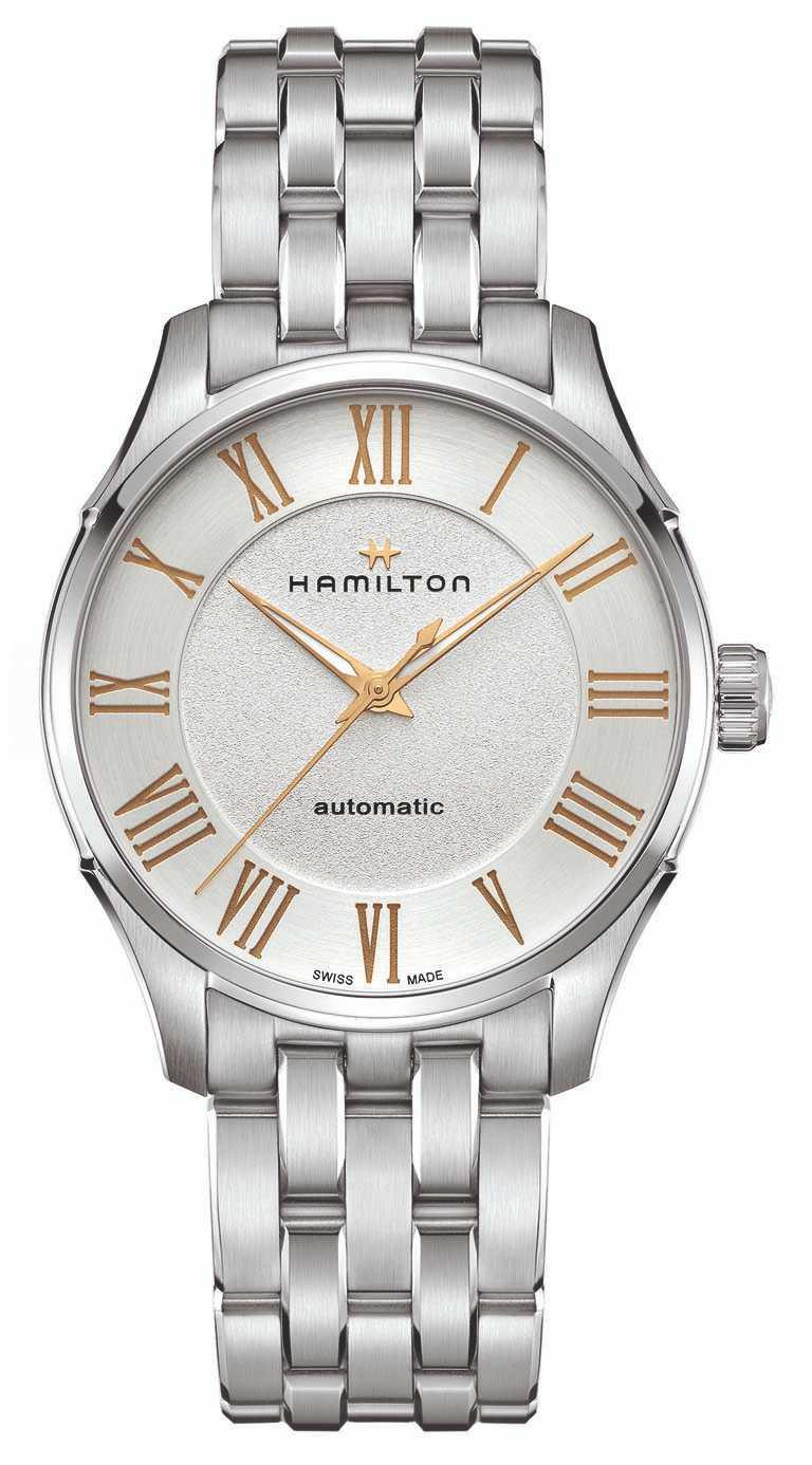 HAMILTON「Jazzmaster Automatic羅馬大三針系列」腕錶,磨砂白色錶盤╱40mm,精鋼錶殼、錶鍊╱30,000元。(圖╱HAMILTON提供)