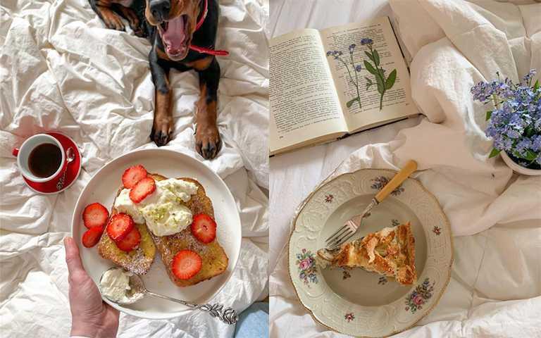 封城隔離成為日常,各國KOL都把食物照居家化,跟著毛孩一起享受「床上吃飯」的愜意。(圖/aymorr IG,veryyyyyshka IG)