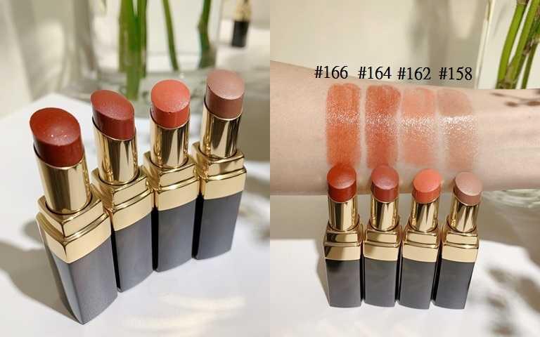 香奈兒COCO晶亮水唇膏時尚裸光系列4色,售價各1,350元。(圖/吳雅鈴攝影)