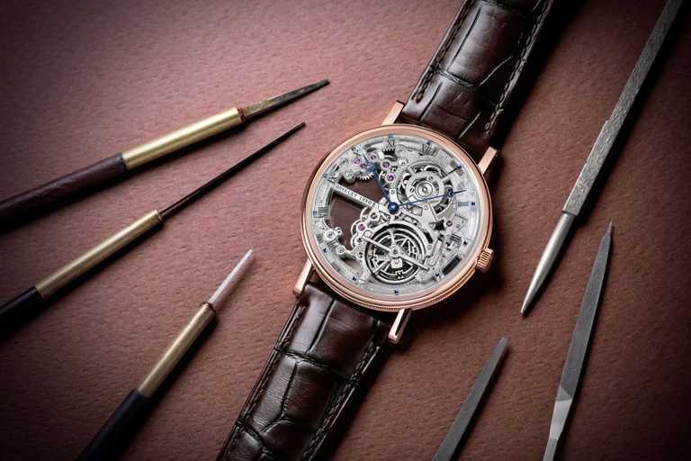 BREGUET「Classique Tourbillon Etra-Thin Squelette 5395」超薄鏤空陀飛輪玫瑰金腕錶╱7,266,000元。(圖╱BREGUET提供)