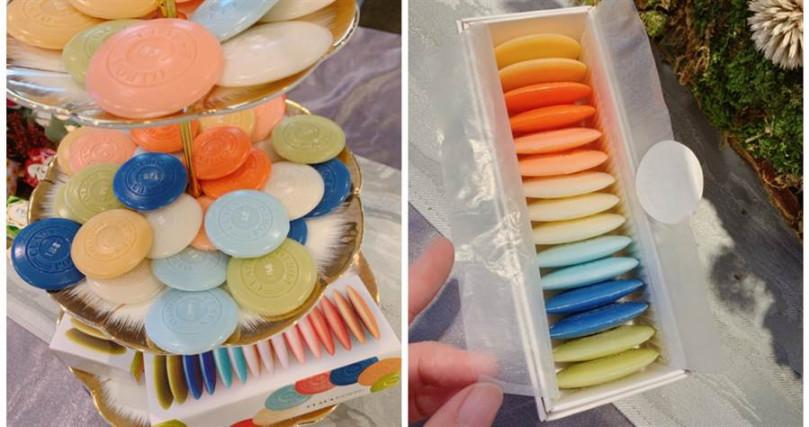 CLAUS PORTO馬卡龍香氛皂禮盒-IRIS/850元  超級可愛的馬卡龍造型迷你香氛皂,讓人每天都想換一種口味來洗澡>///<。(圖/記者攝影)