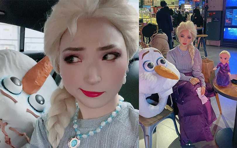 裝扮成ELSA的樣子去看冰雪奇緣,超可愛的樣子也讓很多人被圈粉。【圖/sobong_official IG】