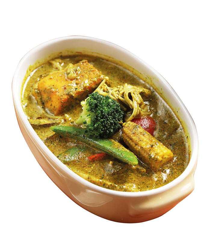 素的「田園綠咖哩」,吃得到品項多元的新鮮蔬菜。(268元)(圖/于魯光)