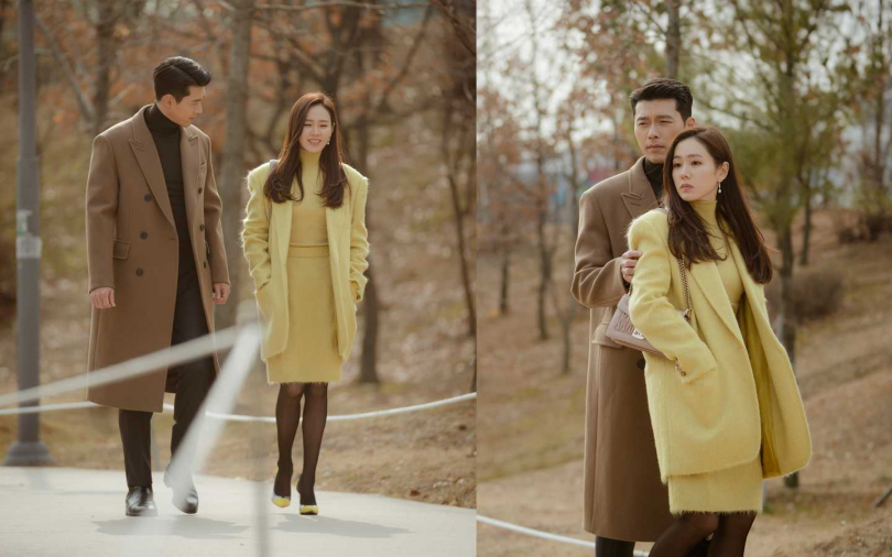 最終集玄彬穿了褐色的超長版大衣,孫藝珍則選擇米黃色連身毛衣裙搭配同色系羊毛大衣,這一對實在太配了(在一起Please~~)(圖/Neflix)