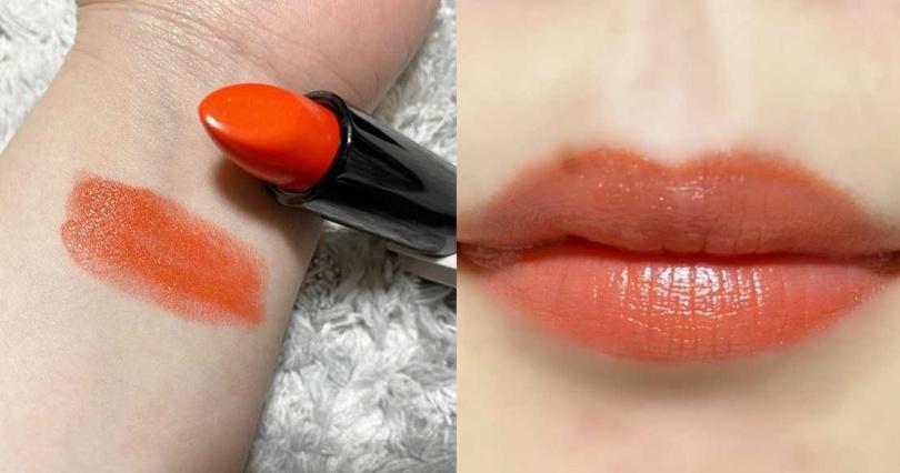 色號#116的艷橘色很襯膚色,黃皮人也能駕馭。(圖/IG@hanapi__pipi)