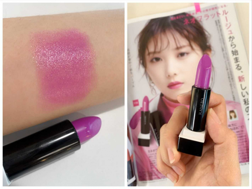 在日雜上被大推!意外地櫻花妹都很愛的色號#114,是能跟肌膚自然融合的帶紅感紫色。(圖/吳雅鈴攝影)