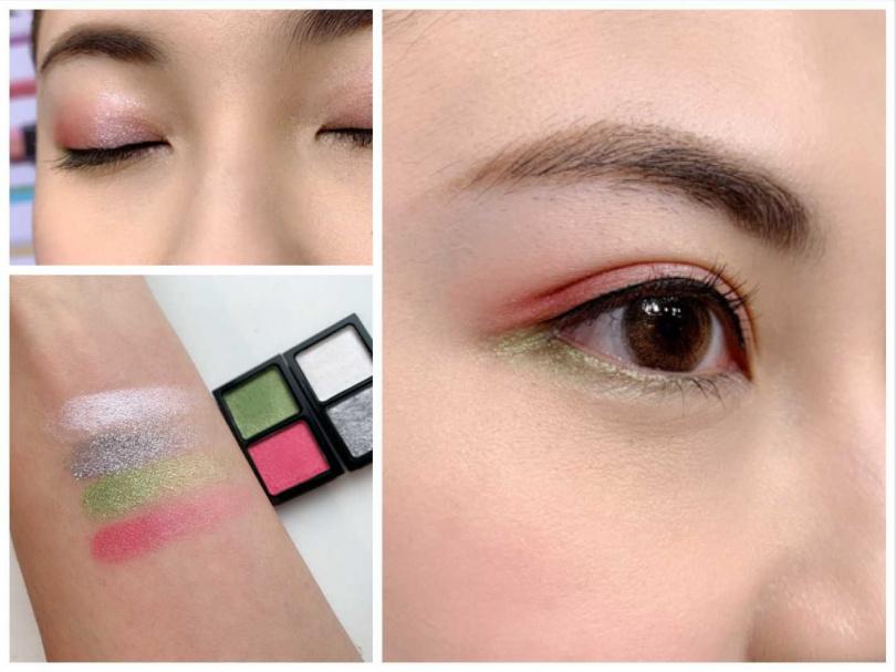雖然是粉狀眼影但觸感卻很水潤貼膚,即使是打亮光感的色系也可以很顯色。(圖/吳雅鈴攝影)