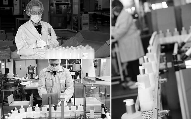 克蘭詩將持續生產乾洗手捐贈至醫療機構,並求力及全球,現在更加碼宣布捐贈30,000條護手霜至法國醫療機構。(圖/克蘭詩提供)