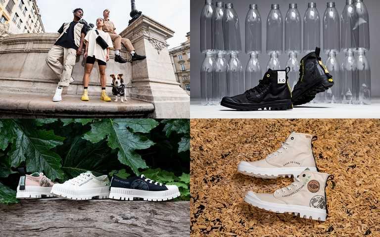 鞋身回收小人設計圖樣搭配EARTH COLLECTION字樣體現「永續潮流」。(圖/PALLADIUM)