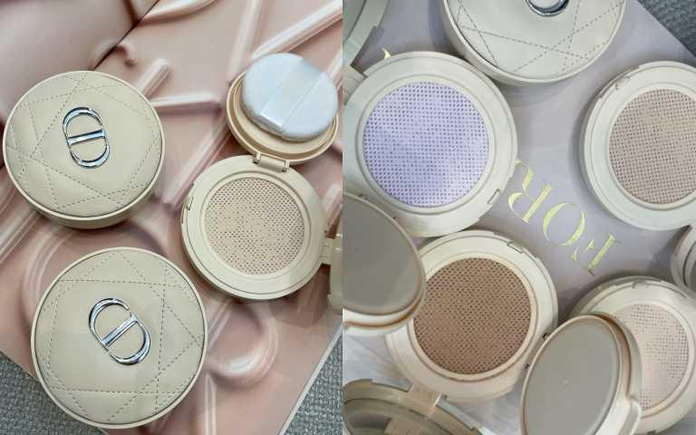 絕美奶茶皮革外衣的《迪奧超完美持久氣墊蜜粉》4款訂製色選,尤其紫色還可以修飾暗沉泛黃,滿足不同膚色。10g/2,200元。(圖/黃筱婷攝影)