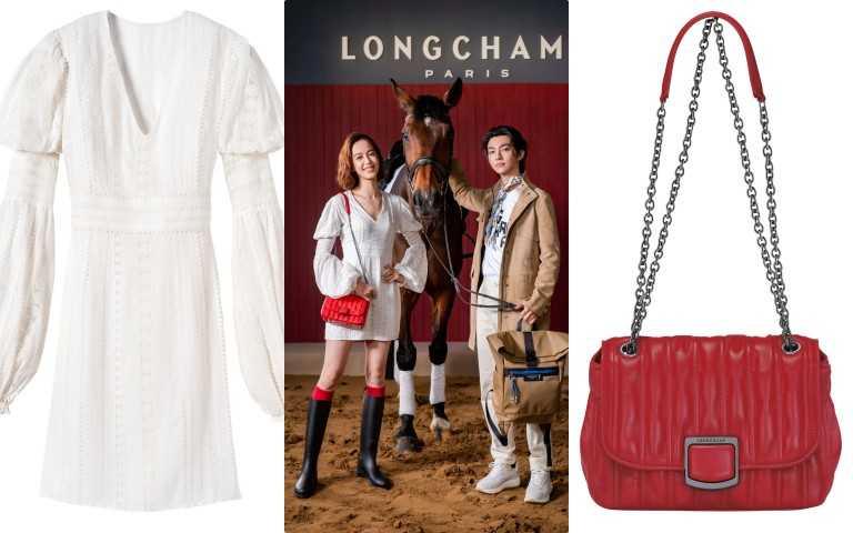 Longchamp 2021春夏服裝系列 白色澎袖造型連衣裙/41,200元、Longchamp Brioche 系列斜背包 (磚紅色)/26,400元(圖/品牌提供)