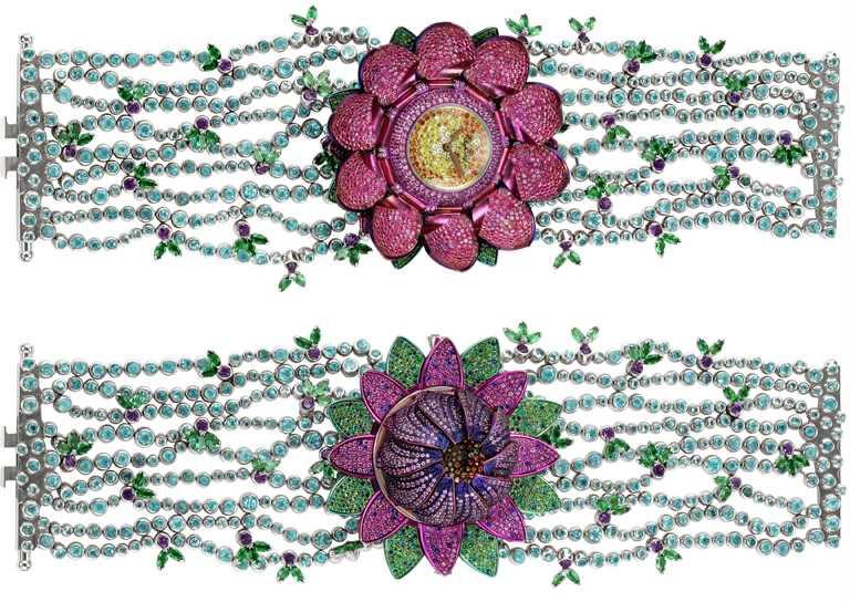 Chopard「High Jewelry頂級珠寶」系列,18K白金腕錶,鑲嵌108顆0.47克拉藍色藍寶石、26顆1.34克拉紫水晶、396顆14.11克拉碧璽、石榴石 13.25克拉、98顆0.75克拉黃橘剛玉、11顆0.06克拉黃鑽、96顆0.31克拉祖母綠、粉色藍寶石2.98克拉,以及1.19克拉鑽石╱32,620,000元。(圖╱Chopard提供)