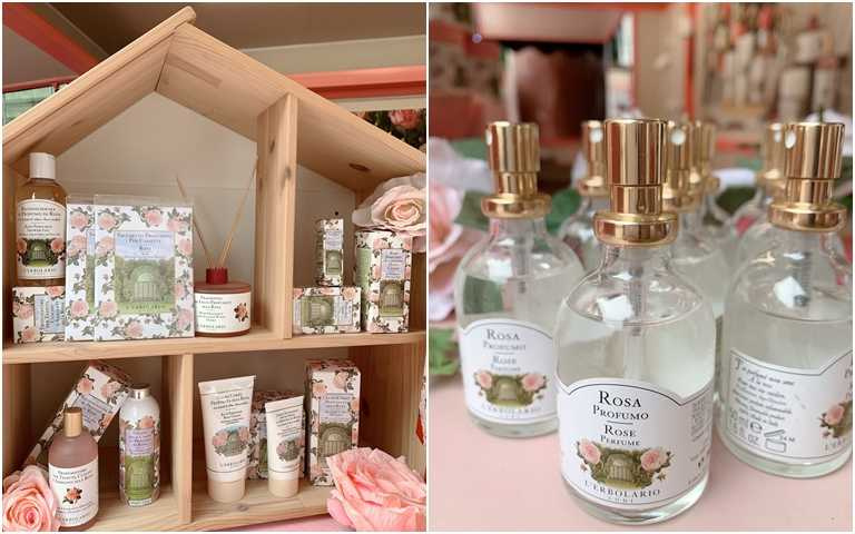 保養區、香水試噴區全都是最好聞的玫瑰香味系列。(圖/吳雅鈴攝影)