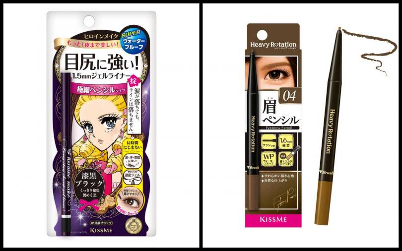 (右)KISSME花漾美姬一筆耀眼極細眼線膠筆#01黑色/330元(左)KISSME花漾美姬美眉持色柔霧眉筆04自然棕/350元。(圖/品牌提供)