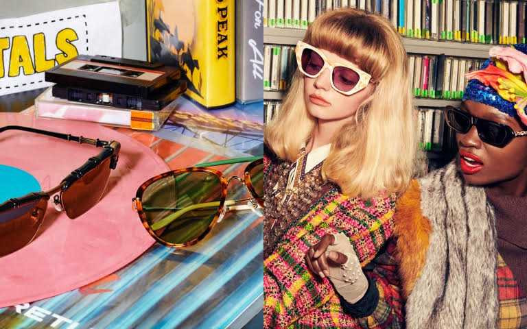 GUCCI 復古貓眼造型太陽眼鏡/19,300、GUCCI 水晶飾黑色太陽眼鏡/19,300元(圖/品牌提供)