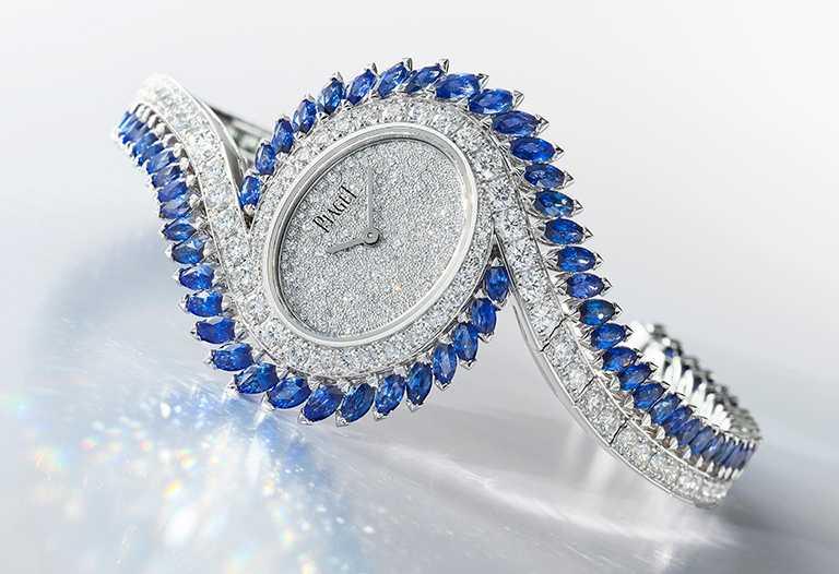 PIAGET「Limelight Gala系列」藍寶石鑽石腕錶,價格店洽。(圖╱台北101提供)