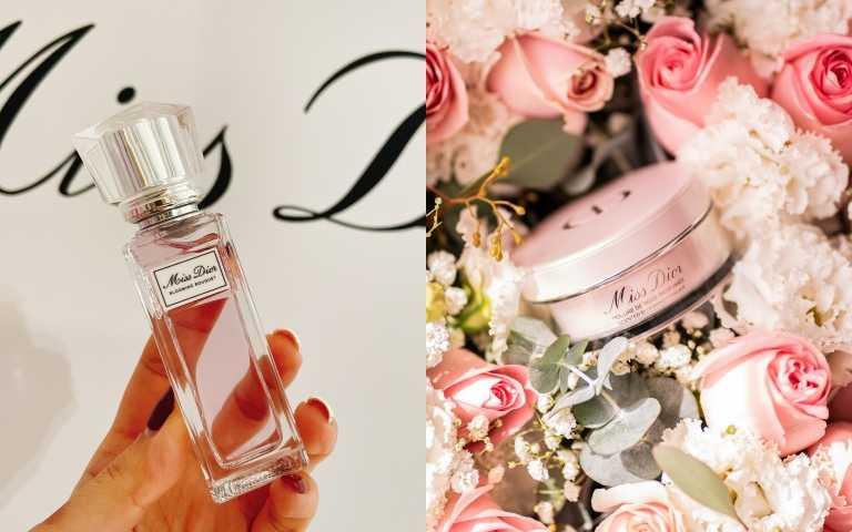 (左)Miss Dior漫舞玫瑰親吻淡香水20ml /1,650元;(右) 花漾迪奧香體蜜粉16g /1,850元(圖/品牌提供、黃筱婷攝影)