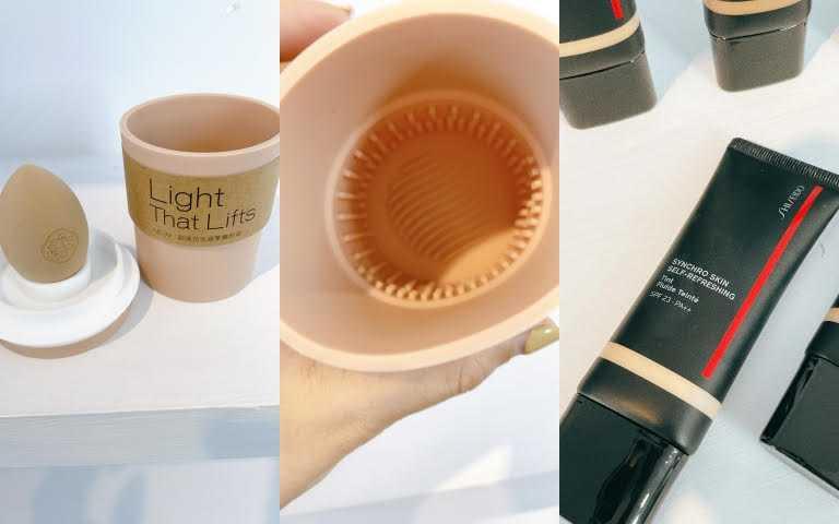 到全台資生堂國際櫃櫃點,購買任一『超進化底妝系列』就送『超進化底妝特攻隊奶茶刷具清潔杯』一個和奶茶澎澎美妝蛋一枚(圖/黃筱婷攝影)
