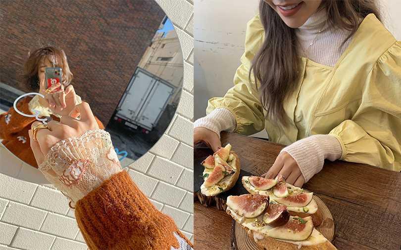 寒冷的韓國冬天,女孩最愛把透視裝當內搭穿,隱約露出的袖口、領口帶點性感的清新味。(圖/VIVAMOON,stylenanda)
