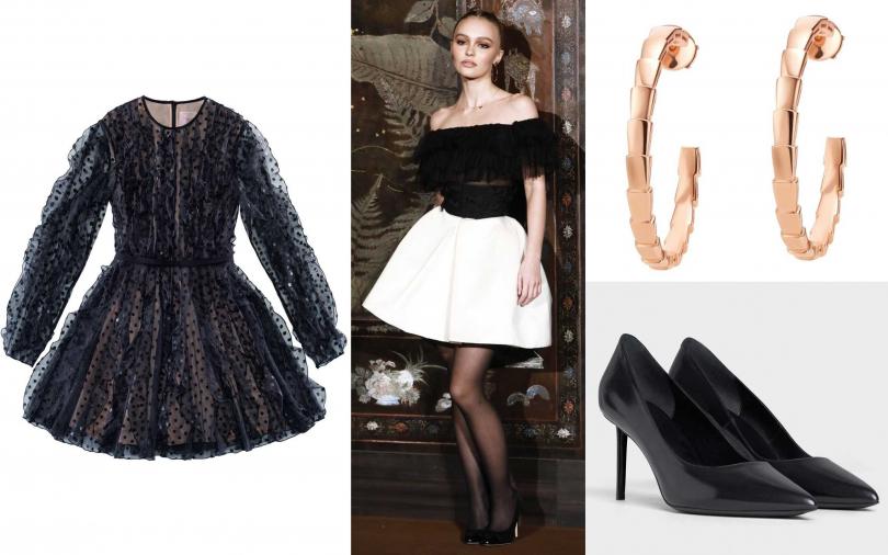 喜歡她的造型你可以這樣搭!H&M黑色透膚網紗洋裝/約4,328元、BVLGARI SERPENTI VIPER玫瑰金耳環/約104,600元、CELINE SHARP亮面小牛皮高跟鞋/23,000元。(圖/品牌提供)