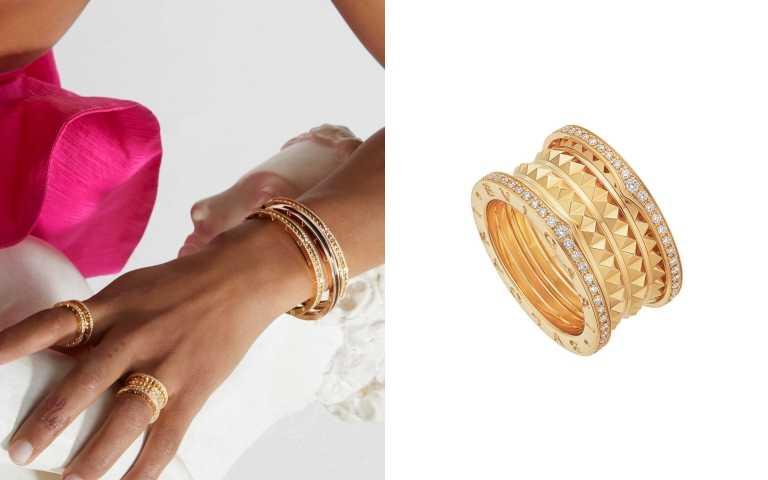 BVLGARI B.zero1 Rock系列黃K金四環鑲鑽戒指/約新台幣225,500元(圖/寶格麗提供)