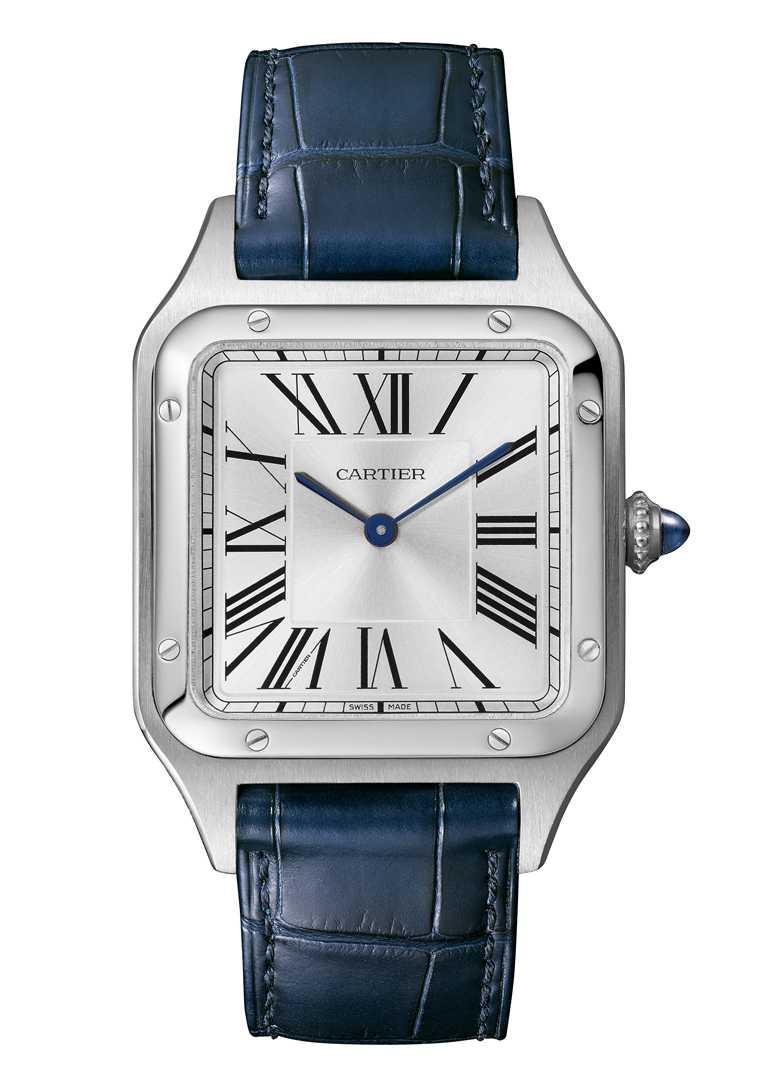 Cartier「Santos-Dumont系列」腕錶(超大型款)╱精鋼錶殼,46.6mm╱180,000元。(圖╱Cartier提供)