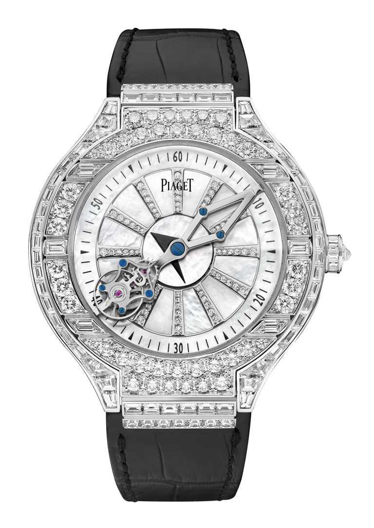 PIAGET「Altiplano系列18K白金相對陀飛輪鑽石腕錶」,18K白金錶殼,47mm╱25,200,000元。(圖╱PIAGET提供)