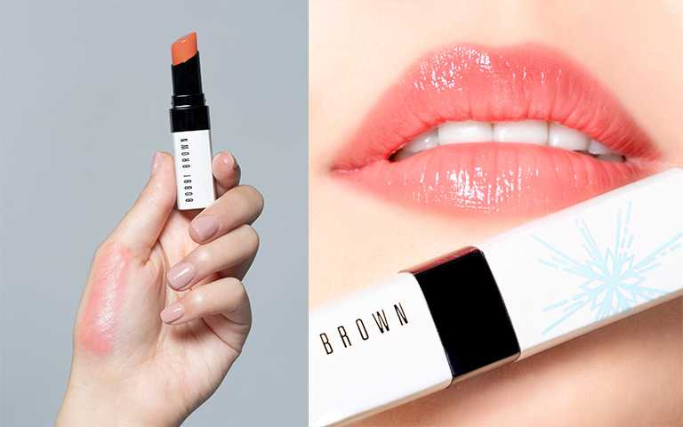 Bobbi Brown 晶鑽桂馥潤色護唇膏限量雪花蓋#Bare Melon 試色。(圖/Bobbi Brown提供)