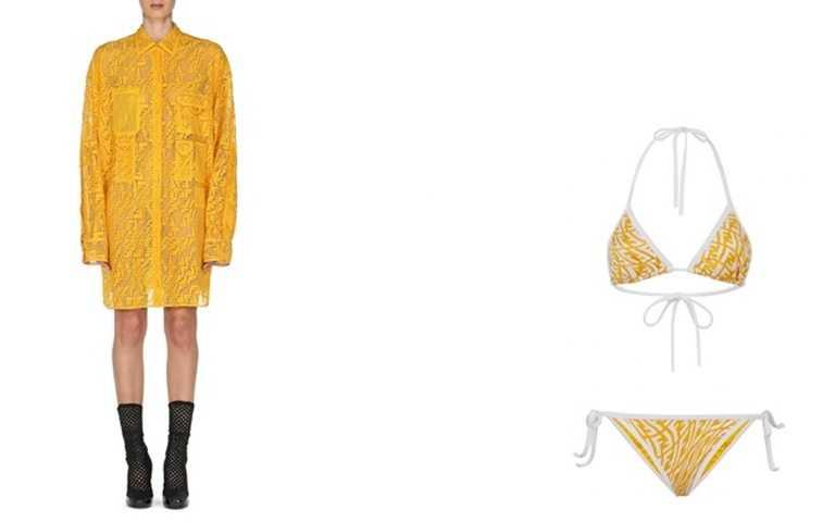 FENDI Vertigo系列 蕾絲透視洋裝。