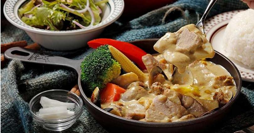 5月新菜「鮪魚海鮮白咖哩」。(420元,圖/泰迪農園咖哩提供)