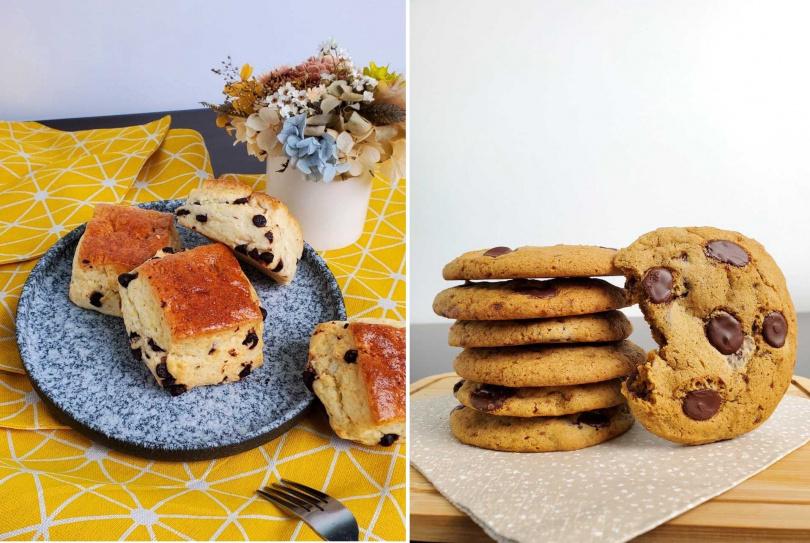 「司康」(左)、「美式軟餅乾」。(圖/德麥食品提供)