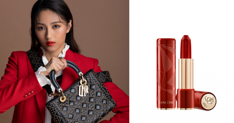 Dior Lady Dior經典黑色小牛皮鉚釘綴飾籐格紋中型款提包;maje黑紅條紋假兩件式襯衫、紅色西裝外套;LANCÔME絕對完美鑽石霧光唇膏#02限量包裝/1,150元(遠東體系獨家販售)。(圖/莊立人攝、品牌提供)