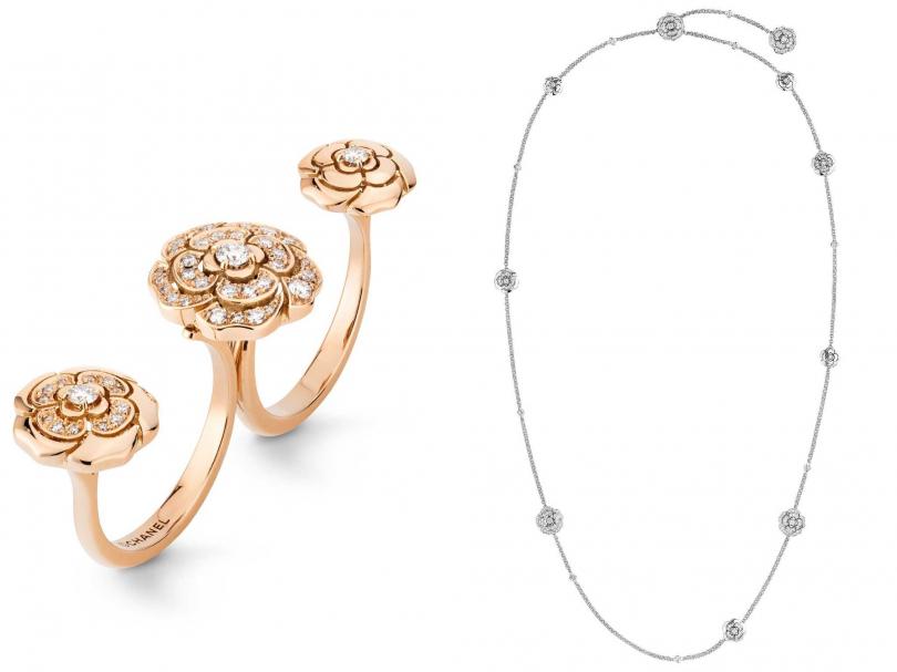 (左)CHANEL「Extrait de Camélia系列」18K粉紅金鑲嵌鑽石指間戒╱302,000元;(右)CHANEL「Bouton de Camélia系列」18K白金鑲嵌鑽石可轉換式長項鍊╱1,248,000元(圖片提供╱CHANEL)