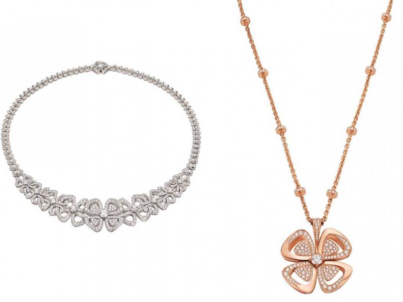 (左)BVLGARI「Fiorever系列」頂級鑽石項鍊╱3,010,000元;(右)玫瑰金鑽石長鍊╱1,584,000元(圖片提供╱BVLGARI)