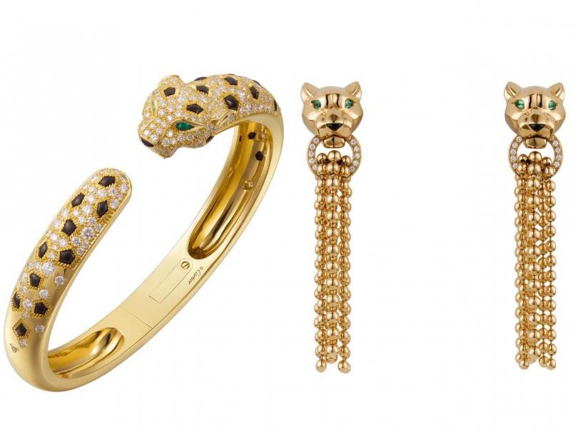 (左)Cartier「Panthère de Cartier系列」美洲豹手環╱1,570,000元;(右)Cartier「Panthère de Cartier系列」美洲豹流蘇耳環╱765,000元(圖片提供╱Cartier)