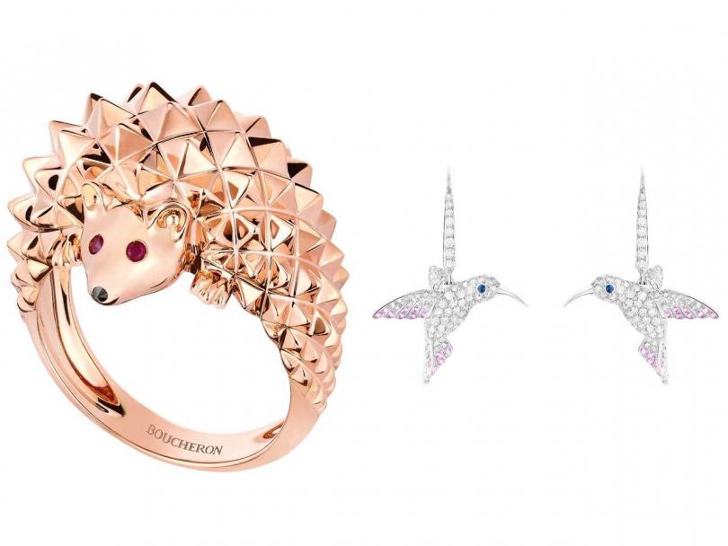 (左)BOUCHERON「Animaux de Collection動物系列」刺蝟指環╱176,000元;(右)BOUCHERON「Animaux de Collection動物系列」蜂鳥耳環╱1,240,000元(圖片提供╱BOUCHERON)