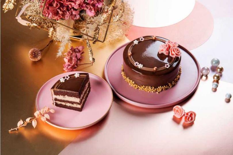 「花之女神伯爵瑪奇朵蛋糕」用優雅貴氣的外觀與焦糖瑪奇朵咖啡內餡擄獲媽咪芳心。(圖/Black As Chocolate)