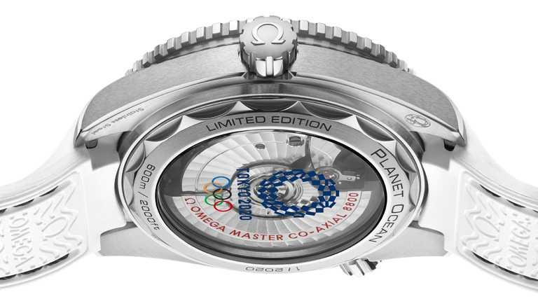 OMEGA「Seamaster海馬」系列,Planet Ocean「東京2020」特別版腕錶,42mm,不鏽鋼錶殼,8800型同軸擒縱大師天文台機芯,限量2,020只。(圖╱OMEGA提供)