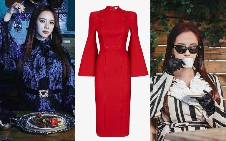 FENDI紅色真絲和羊毛裙裝/86,900元(圖/翻攝網路、品牌提供)