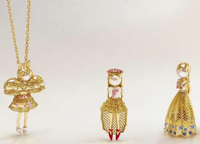 (由左至右)FRED「Fredy's Tomo's Dolls」珠寶胸針吊墜(加項鍊),CHOUCHOU╱526,000元;FROU-FROU╱491,700元;TUTU╱560,300元。(圖╱FRED提供)