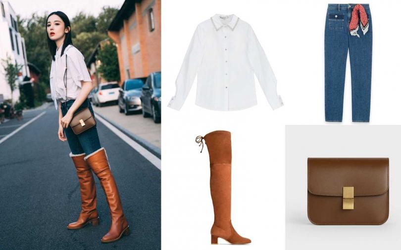 妳可以學古力娜扎這樣搭!La Feta白珠串水鑽領邊襯衫/9,980元、Maje高腰牛仔褲/8,120元、Stuart Weitzman KIRSTIE basket brown stretch suede boots/約38,114元、CELINE TEEN CLASSIC駝色頂級小牛皮肩背包/105,000元。(圖/品牌提供)