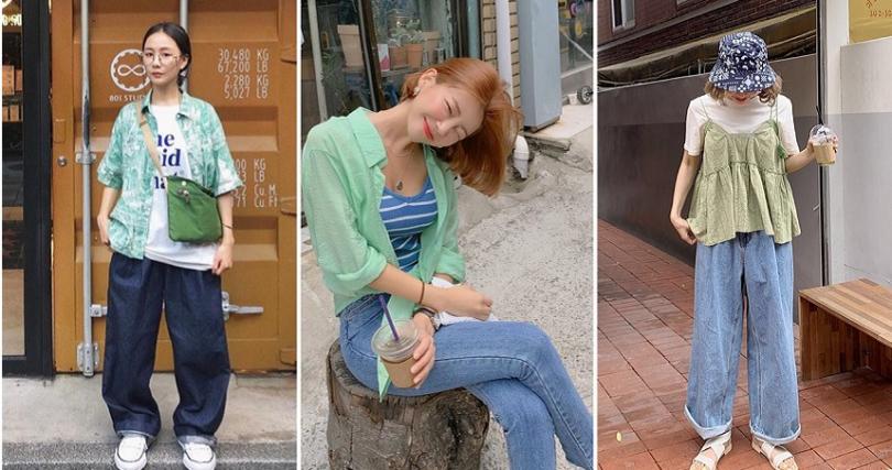 清新的女孩穿搭,丹寧配上酪梨綠絕不出錯。(圖/@egg204 IG,vivamoon、styleanda)