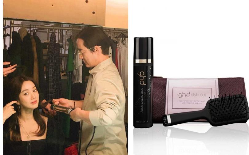 GHD 溫莎造型包包含抗熱噴霧、迷你方形板梳/2,500元。(圖/翻攝自網路)