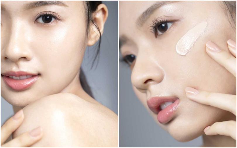 氣墊粉餅第一下要先拍在臉部中央受光處的大面積範圍,然後再往外延伸,最後才是鼻翼、眼下的細微部位。(圖/莊立人攝影)
